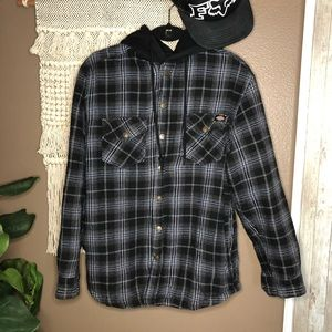 Dickies Plaid Hooded Button Down Jacket